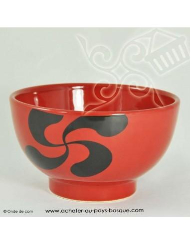 Bol rouge croix basque -vaisselle traditionnelle basque - laburu - livraison courses domicile
