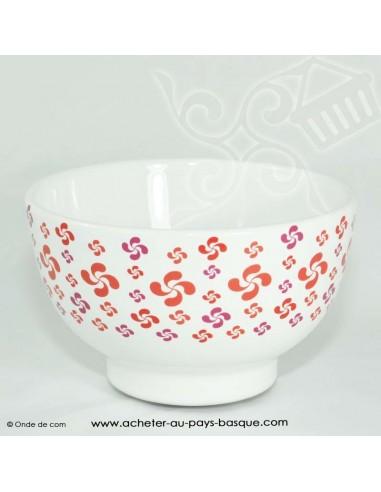 Bol multi croix basque rouge - vaisselle traditionnelle basque - laburu - livraison courses domicile