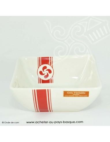 Bol basque chic carré - vaisselle traditionnelle croix basque - laburu - livraison courses domicile