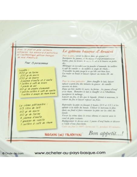 Plat recette gateau Basque traditionnel - vaisselle collection basque - livraison courses domicile