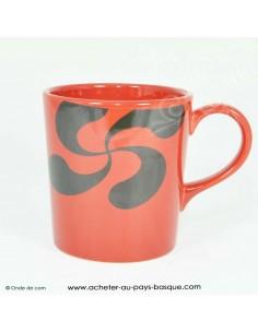 Mug rouge croix basque - vaisselle traditionnelle basque - laburu - livraison courses domicile