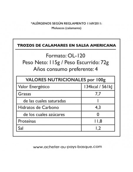 calamars americaine Pay Pay valeur - aperitif espagnol conserve - livraison a domicile bayonne biarritz anglet