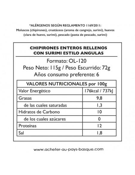Chipirons anguilas Pay Pay valeur energetique - aperitif conserve espagnole - livraison a domicile bayonne biarritz anglet