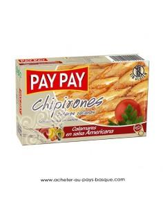 Chipirons entier americain Pay Pay - aperitif conserve espagnole - livraison a domicile bayonne biarritz anglet