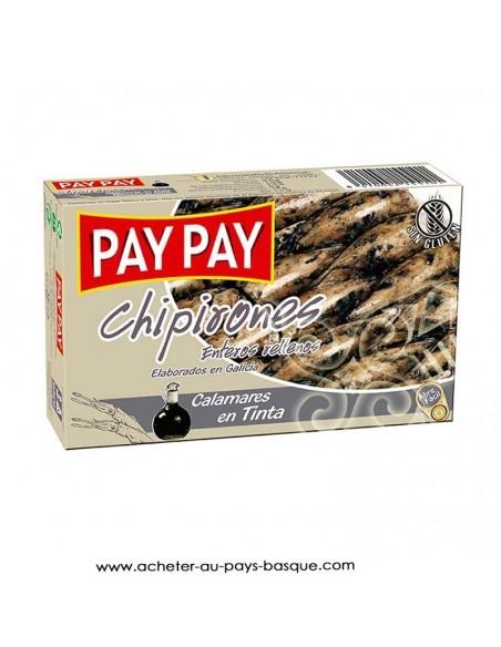 Chipirons entier encre Pay Pay - aperitif conserve espagnole - livraison a domicile bayonne biarritz anglet