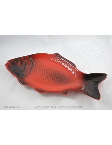 Plats à service poissons rouge et noir - en terre cuite - Jean de la Terre - Ekibidea Cambo les Bains