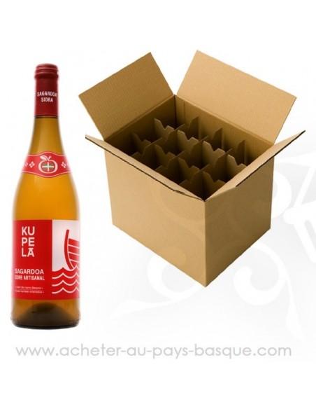 Carton cidre basque Kupela rouge Gorria - cidre traditionnel doux - livraison a domicile bayonne biarritz