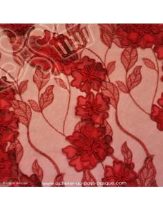 Tissu tulle rouge 3D fleur - tissu habillement - vetement couturiere robe mariée - Dock Negresse Biarritz