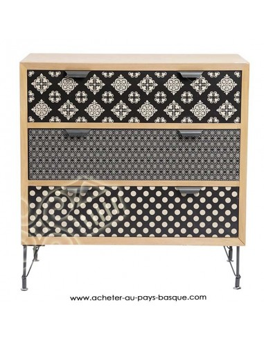Commode motif graphique Jardin d'Ulysse - Pas Sage et des rêves Biarritz - boutique décoration