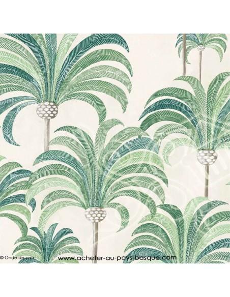 Palmeraie thevenon vert ambiance tropicale - Tissus Ameublement - Tissus des Docks de la Negresse mercerie - Biarritz