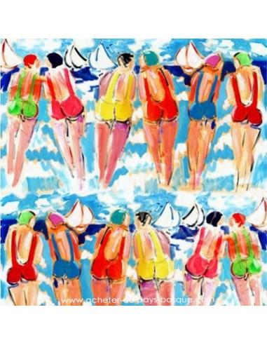 Les Sœurs B baigneuses - collection patrick Plattier - Tissus Ameublement - Tissus des Docks de la Negresse Biarritz