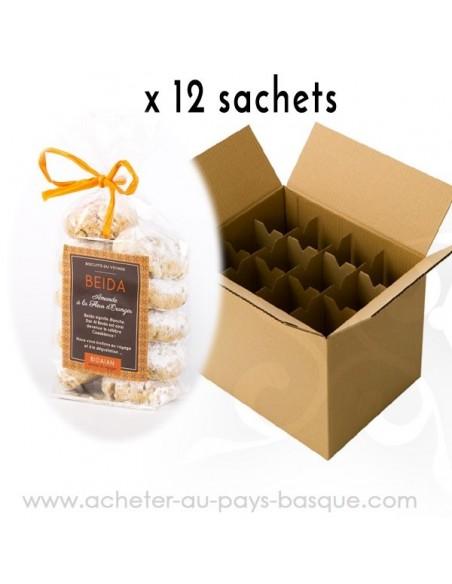 1 carton de 10 sachets de Biscuit fleur oranger - bidaian bayonne - produits marocains - épicerie saveurs du monde