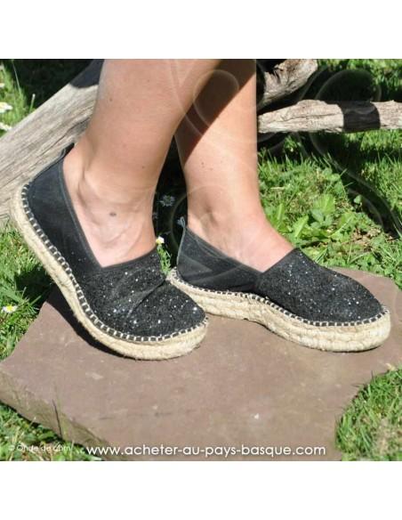 Espadrille de Mauléon Pépita noire  - artisan fait main prodiso - chaussure traditionnelle  - France