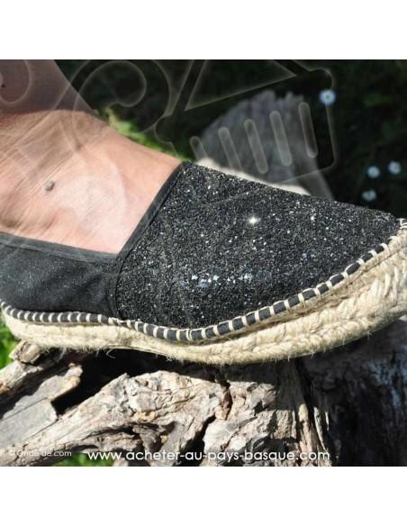Espadrille de Mauléon Pépita noire  - artisan fait main zoom - chaussure traditionnelle  - France
