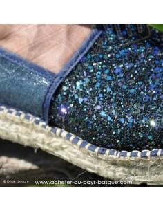 Espadrille de Mauléon Pépita bleu brillantes paillettés - artisan fait main prodiso - chaussure traditionnelle  - France