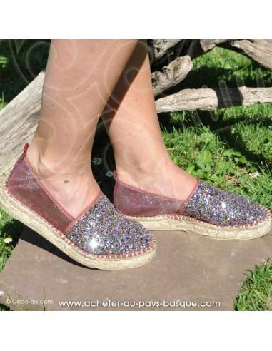 Espadrille de Mauléon Pépita Bordeaux brillantes paillettés - artisan fait main prodiso - chaussure traditionnelle - France