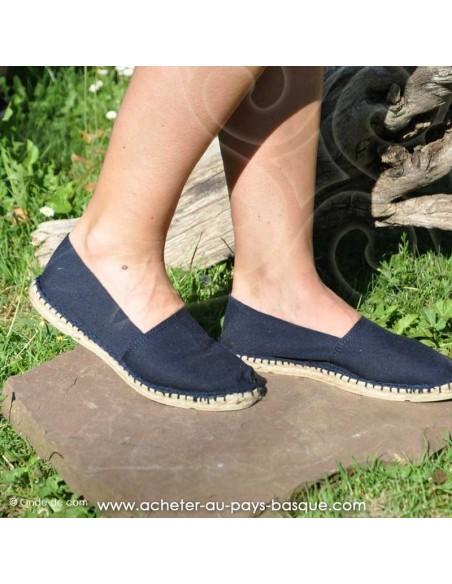Espadrille classique Bleu marine basque Prodiso Mauléon Maité - artisan fait main - chaussure traditionnelle - France