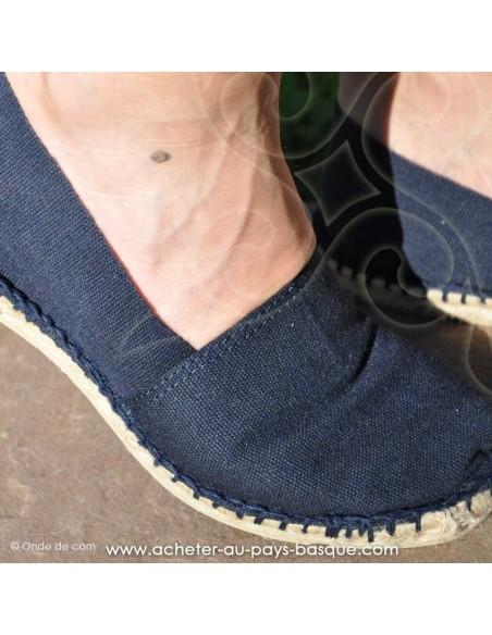 Espadrille classique Bleu marine basque zoom Mauléon Maité - artisan fait main - chaussure traditionnelle - France