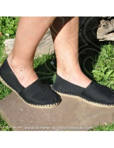 Espadrille noire classique basque Prodiso Mauléon Maité - artisan fait main - chaussure traditionnelle - France