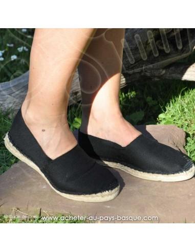 Espadrille noire cousue main basque Prodiso Mauléon Marixu - artisan - chaussure traditionnelle - France