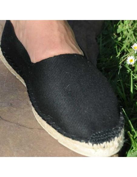 Espadrille noire cousue main basque Prodiso Mauléon Maité - artisan - chaussure traditionnelle - France