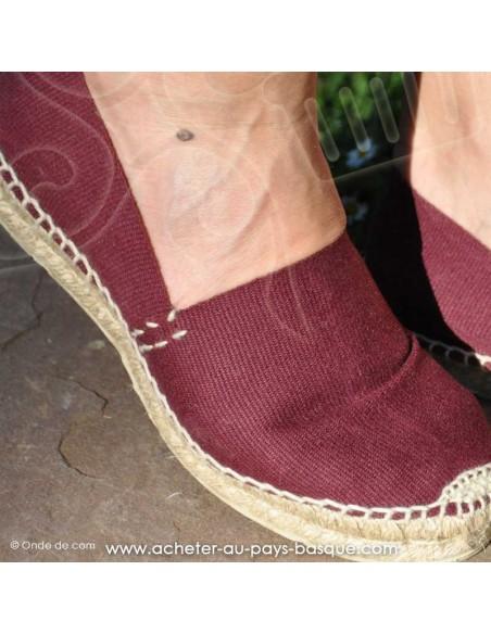 Espadrille bordeaux cousue main basque Prodiso Mauléon Marixu - artisan - chaussure traditionnelle - France