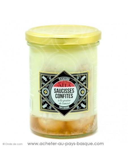 Saucisses confites graisse de canard - les délices d'aita itxassou - epicerie fine - plat cuisiné conserve basque