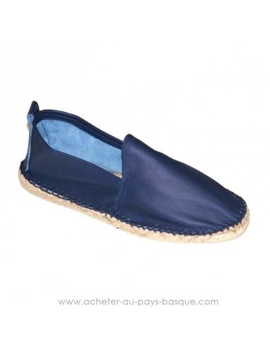 8bfcf4fc04568 Espadrille basque Prodiso en cuir marine Mauléon Cancha - artisan fait main  - chaussure traditionnelle