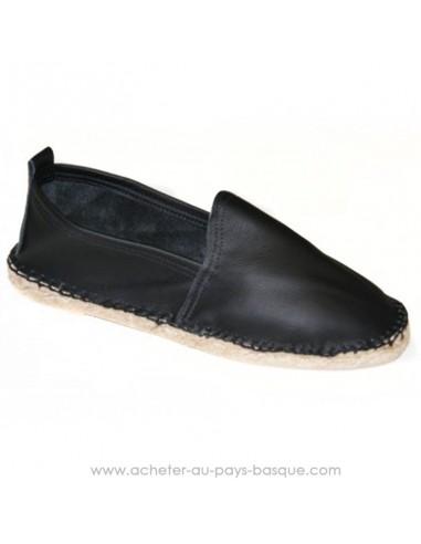Espadrille basque Prodiso en cuir noire Mauléon Cancha - artisan fait main - chaussure traditionnelle