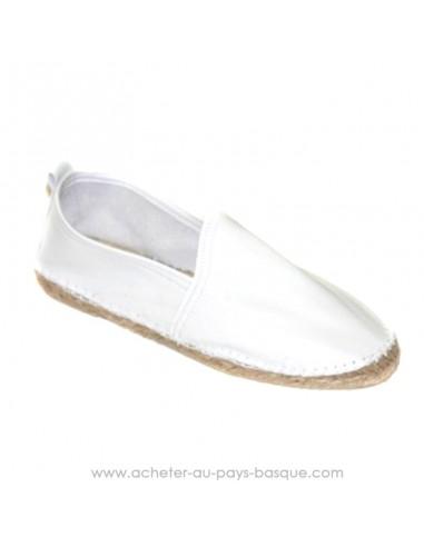 Espadrille basque Prodiso en cuir blancheMauléon Cancha - artisan fait main - chaussure traditionnelle