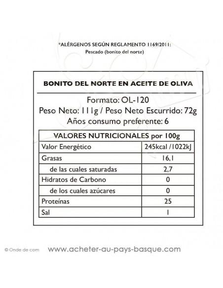 Bonite à l'huile d'olive Bonito del norte - Pay Pay - nutritionelle - conserve epicerie produits espagnols - livraison  biarritz