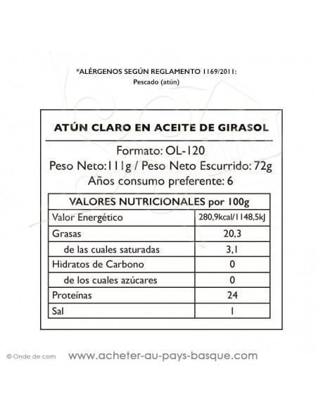 Thon à l'huile de tournesol Pay Pay nutritionnelle - aperitif conserve espagnole - livraison bayonne biarritz anglet