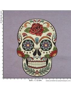 Jacquard tissé teint : tête de mort - tissu Ameublement - coussin sac customisation vetement - Tissu  Biarritz