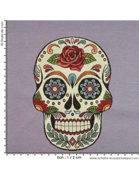 Jacquard tissé teint : tête de mort - avec mesure tissu Ameublement - coussin sac customisation vetement - Tissu  Biarritz