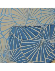 Tissu Nympheas Thévenon réversible Bleu Gris