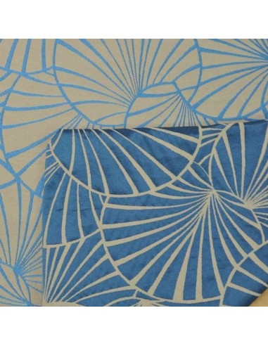 Tissu jacquard d 39 ameublement nympheas th venon bleu biarritz - Diva tissu d ameublement ...