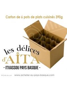 Conserves basques Carton de 6 plats cuisinés 390 g :  soupe de poisson Axoa de veau de canard, Saucisses confites - en Gros
