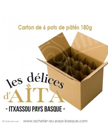Conserves basques Carton 6 pâtés de 180 gr : pâté basque ou landais boudin basque, terrine piment d'Espelette  - Vente en Gros