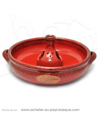 Le Cocoricuit Rouge basque - Jean de la Terre - plat céramique rouge - cuisson de votre poulet volaille présentation originale