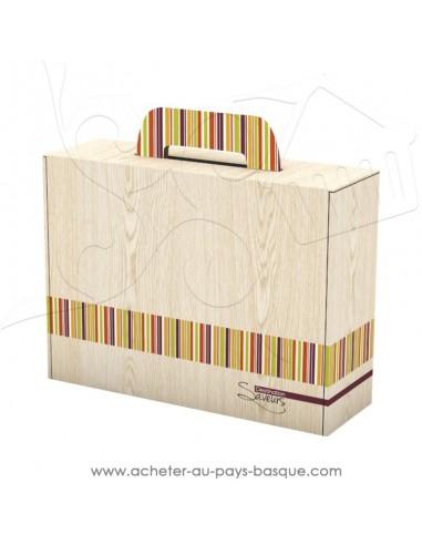 grande valisette vide en carton effet bois pour composer votre coffret cadeau personnalisé vente en ligne