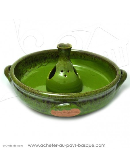 Le Cocoricuit Vert - Jean de la Terre - plat céramique vert - cuisson de votre poulet volaille présentation originale