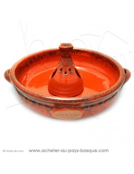 Le Cocoricuit orange- Jean de la Terre - plat céramique orange - cuisson de votre poulet volaille présentation originale