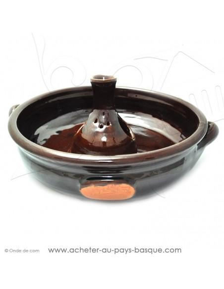 Le Cocoricuit marron - Jean de la Terre - plat céramique marron - cuisson de votre poulet volaille présentation originale