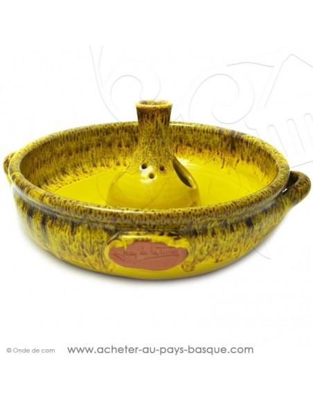 Le Cocoricuit Jaune - Jean de la Terre - plat céramique Jaune  - cuisson de votre poulet volaille présentation originale