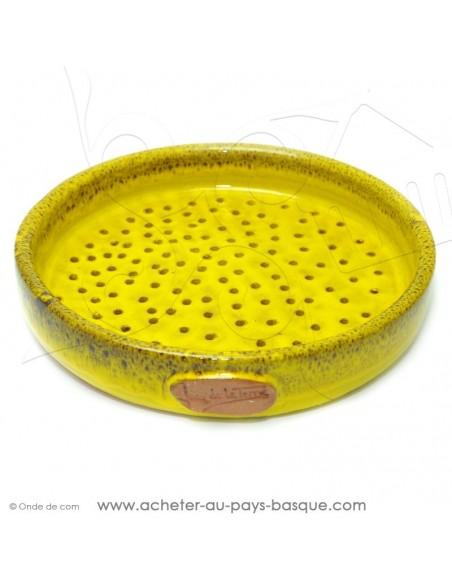 Plat à Tarte à trous Jaune Quiche Pizza en Terre cuite céramique - Poterie Jean de la Terre