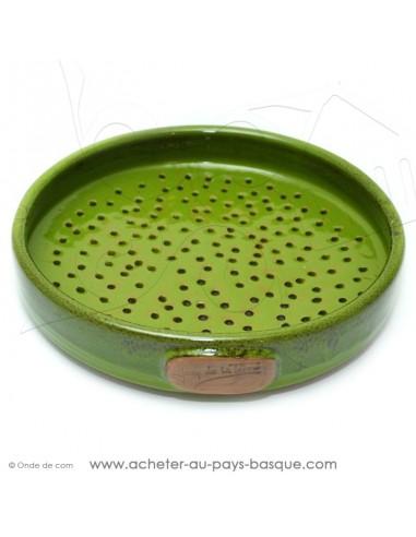 Plat à Tarte à trous vert Quiche Pizza en Terre cuite céramique - Poterie Jean de la Terre