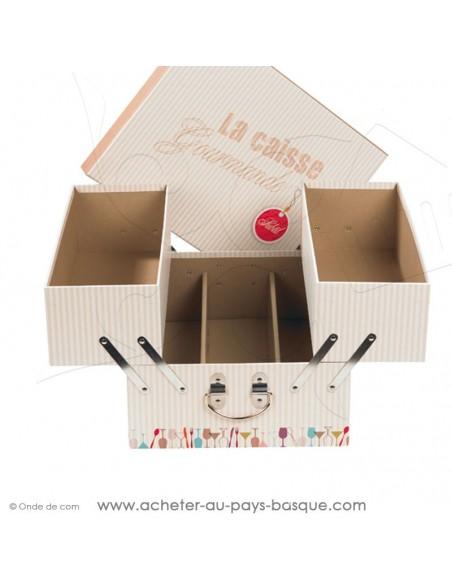 Achetez et composez un cadeau généreux en gourmandises avec cette caisse ouverte rappelant la caisse à outil de papa