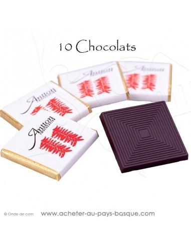 Acheter 10 Pousse-cafés au chocolat Noir et au piment d'Espelette chocolat basque généreux avec du caractère vente en ligne