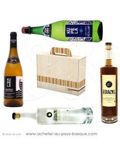 Offrez ce coffret cadeau basque dégustation de patxaran, manzana, cidre vente en ligne