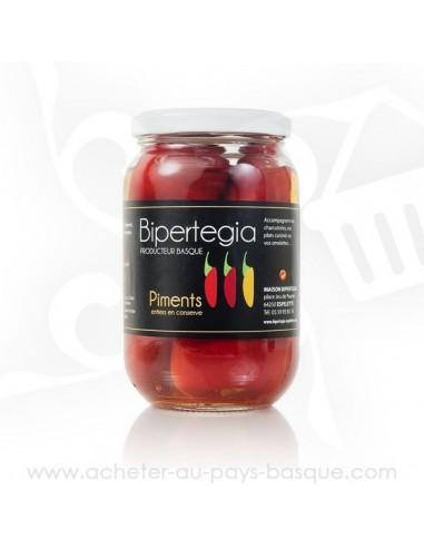 Piments d'espellete entiers en conserve - Bipertegia producteur Basque - Espelette en vente